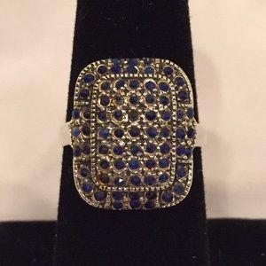 Vintage Sterling Silver Blue Marcasite Ring Size 8